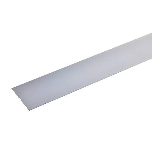 acerto 36737 Übergangsprofil aus Aluminium selbstklebend * 4x50 mm * Robust * Kratzfest | Übergangsleiste für Teppich Laminat & Parkett | Alu Übergangsschiene Bodenprofil zum Kleben (100 cm, silber)
