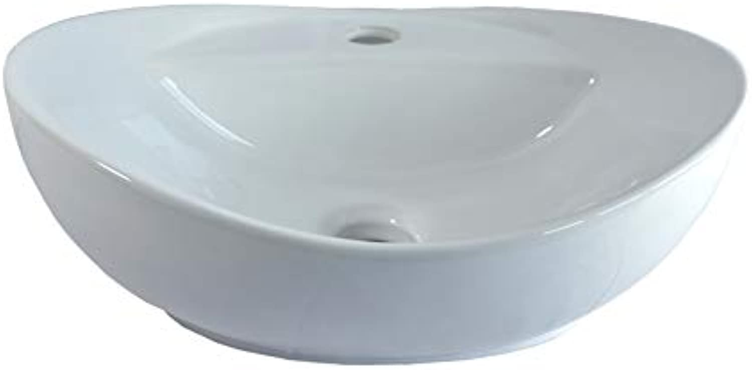 1 x Ceramic washbasin Oval Small countertop Ceramic 40.5 cm L 33 cm W