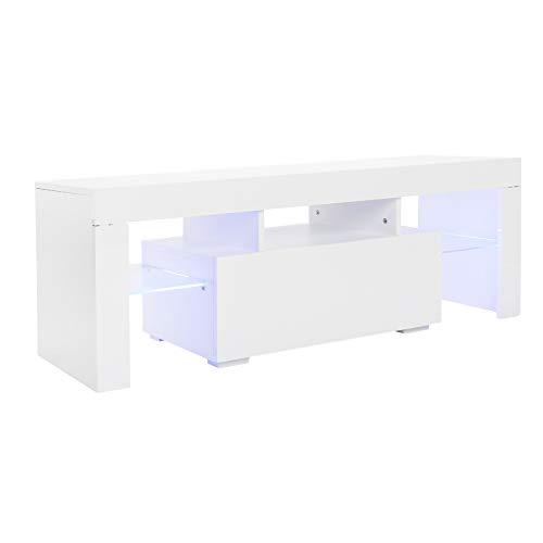 Elegante soporte de entretenimiento LED para TV, 51 pulgadas, elegante decoración del hogar, gabinete de TV LED con un solo cajón para sala de estar, color blanco