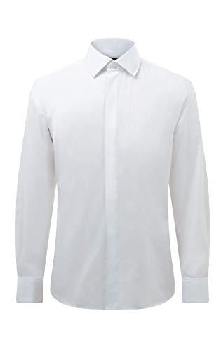 Dobell Dobell Herren Smokinghemd Weiß Schlichte Hemdbrust Regular Fit-38