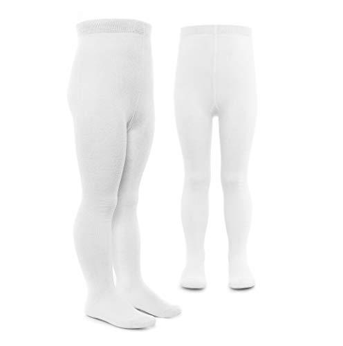 LaLoona Baby und Kinder Strumpfhosen Set - 2er Pack elastische Babystrumpfhosen mit breitem Bund und hohem Baumwolle Anteil - 50/56 (0-3 Monate) - Weiß