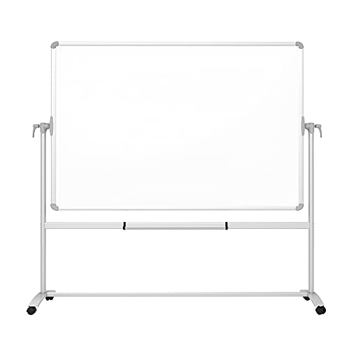 VIZ-PRO Double-Sided Magnetic Mobile Whiteboard, 72 x 48 Inches, Steel Stand