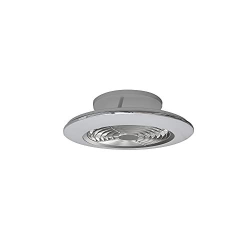 Mantra Iluminación. Modelo ALISIO MINI. Ventilador y plafón de techo de 52,5 cm de diámetro en color plata. Fuente de luz LED 70W 2700K-5000K 4900lm. Ventilador 30W