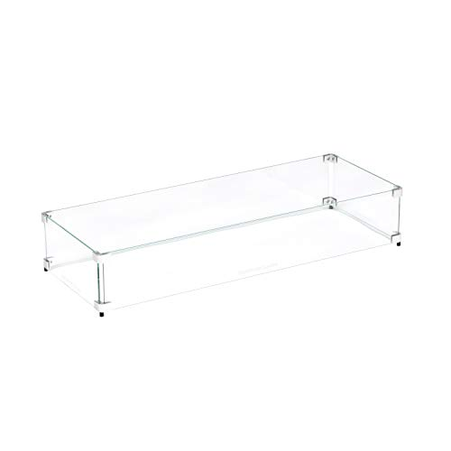 """Celestial Fire Glass - 34.5' x 13.5' x 6' Flame/Wind Guard, fits Our 30"""" x 10"""" Burner Pan for Outdoor Fire Pits"""