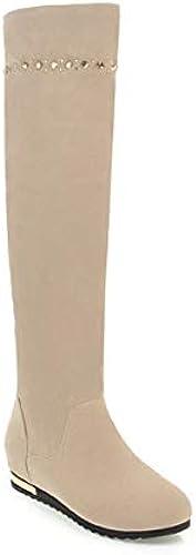 DANDANJIE DANDANJIE DANDANJIE Frauen-Kniehohe Stiefel-Mode-Keilabsatz-Fall-Winter-Schneeschuhe (SchwarzRot Beige),Beige,40EU  beeilte sich zu sehen