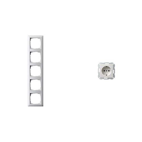 Gira 021503 Abdeckrahmen 5-fach Reinweiß glänzend & 018803 Schuko Steckdose System 55, reinweiß