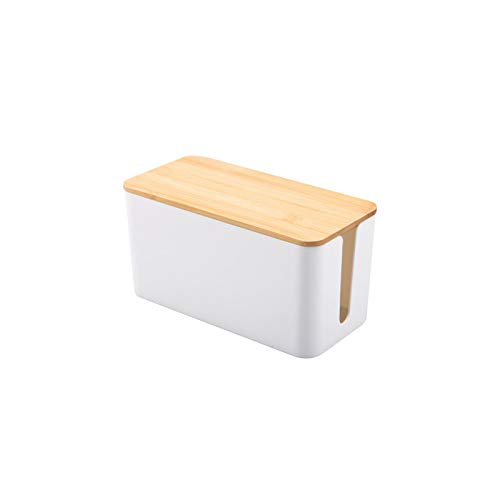 POHOVE Caja de cables para el hogar y la oficina con organizador de cables con tapa de madera, para extensión de almacenamiento, gestión, cable y escritorio