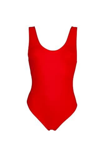 Bikinicolors Costume Intero Modello Baywatch Olimpionico | Colori Nero Blue Rosso Corallo Fucsia Giallo Fluo Bianco | Made in Italy (L, Rosso)