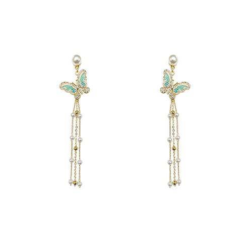 Mbdyvv Pendientes de sudeda Actuales de Larga duración Pendientes de Mariposa de Perlas de Cristal Femenino Templos de la Oreja de la Terminal de Frutas del Puerto del Vintage