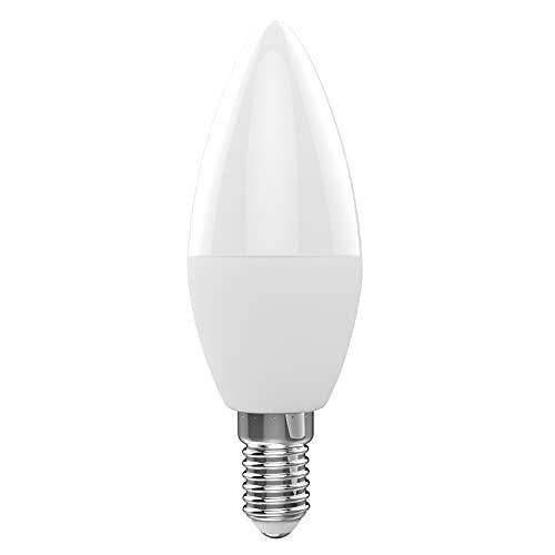 WiFi Smart Bulb RGB + W + C LED Vela Bombilla 5W E12 Luz Regulable APLICACIÓN DE TELÉFONO SmartLife/Tuya Control Remoto Compatible con Alexa Google Home para Control de Voz, 1 Paquete