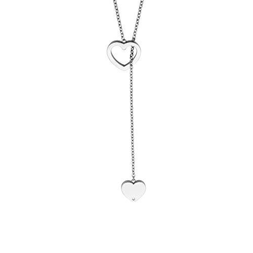 Esprit ESNL00892170 Damen Collier Herz Feel Y Edelstahl Silber weiß 70 cm