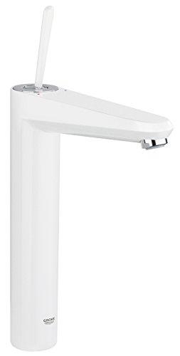 GROHE Eurodisc Joystick Badarmatur für freistehende Waschschüsseln, glatter Körper, extra hoher Auslauf, Moon White 23428LS0