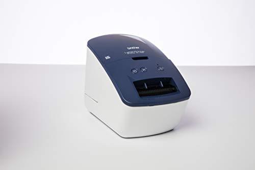 Brother QL-600B Blau Etikettendrucker (USB-Schnittstelle, Barcodedruck, automatische Schneideeinheit)