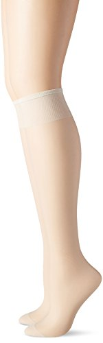 Hanes Hosiery Silk Reflections Silky Sheer Reinforce Toe Knee High 775 (Pearl/One Size) Pack of Two