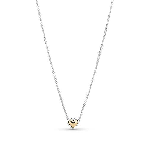 Auténtica plata de ley 925 con forma de corazón dorado y collar de moda para mujer Pandora Charm regalo DIY joyería