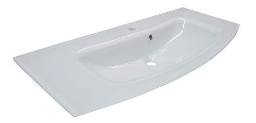 FACKELMANN Glaswaschbecken RONDO / elegant geschwungener Waschtisch aus Glas / Maße (B x H x T): ca. 100 x 14 x 44 cm / tiefe Waschmulde / hochwertiges Becken fürs Badezimmer und WC / Farbe: Weiß
