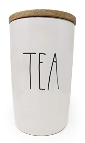 Rae Dunn by Magenta LL Large Letter Canister (TEA- MEDIUM- WOOD LID)