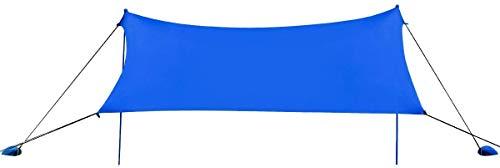 COSTWAY Toldo para Playa de Lycra Sombra Protección Solar con 4 Sacos de Arena y 2 Postes de Aluminio para Playa Camping Pesca (Azul, 300 x 280cm)