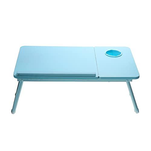 LXF JIAJU 55x32x25cm Dichte Board Laptoptisch Einstellbar Tragbare Klapplaptop Stand Schreibtisch Betttisch Mit Tasse (Color : Blue)