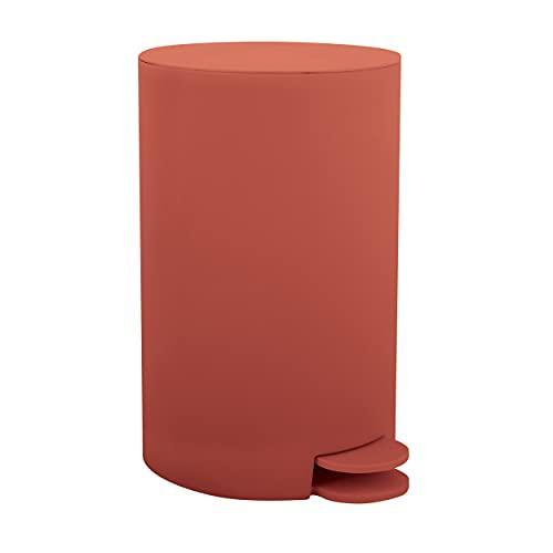 MSV Osaki - Cubo de basura con pedal (3 L, con cubo interior extraíble), color rojo terracota