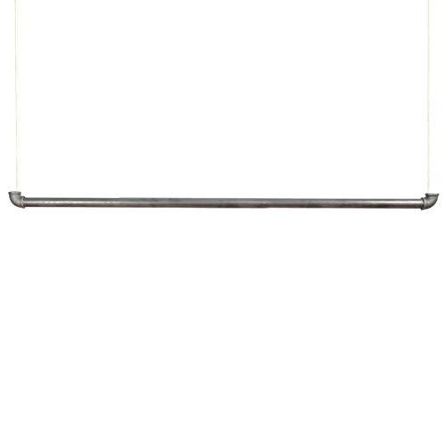 Natural Goods Berlin 1x Hängegarderobe Pipe Gard Swing | frei hängende Industrial Vintage Kleiderstange Deckenmontage am 5m Seil höhenverstellbar | Wasserrohre Fitting | DIY (120cm, weißes Seil)