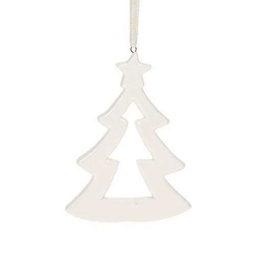 STEFANAZZI 8 Pezzi Abete in Ceramica da Appendere Decorazione di Natale in Ceramica Dipinta Regalo Natalizio per addobbi dell'albero Decorazioni per casa per Tavolo