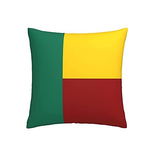 Kissenbezug mit Flagge von Benin, quadratisch, dekorativer Kissenbezug für Sofa, Couch, Zuhause, Schlafzimmer, drinnen & draußen, niedlicher Kissenbezug 45,7 x 45,7 cm