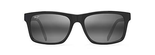 Maui Jim Waipio Valley - Gafas de sol rectangulares para hombre, negro (Negro/Gris/Bronceado/Gris Neutro Polarizado), Large