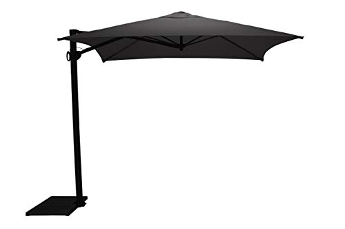 Maffei Art 137q Kronos Parasol deporté carré cm 250x250, Tissu PolyMa. Made in Italy. Couleur Anthracite