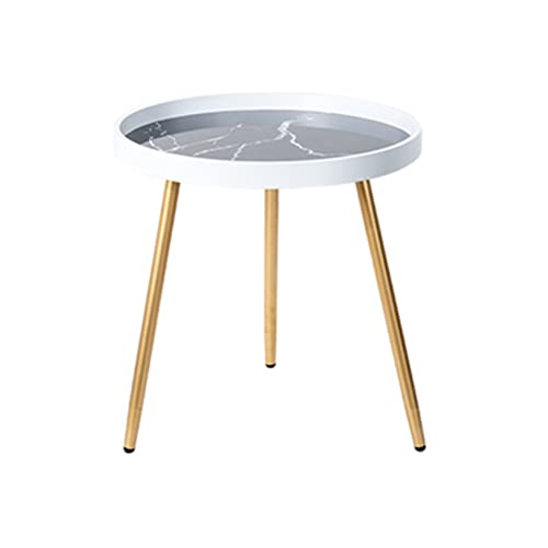 JCNFA MESAS Top de mesa de mármol,borde de madera de paleta,mesa de metal mesa de mesa redonda bandeja extraíble Bandeja extraíble Al aire libre y interior Bebida Snack Mesa de café Mesa de teléfono,2
