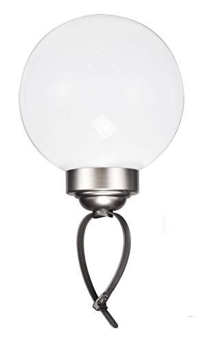 LED Solar Leuchtkugel mit Erdspieß und Schlaufe - Kugelleuchte 20 cm in kaltweiß - Solarleuchte ideal für Balkon Geländer oder Garten - Lampe Solar Kugel