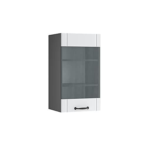 Vicco Küchenschrank Fame-Line Landhaus Unterschrank Hängeschrank Küchenzeile Oberschrank Küche (Korpus Anthrazit/Front Weiß, Hängeschrank 40 cm)