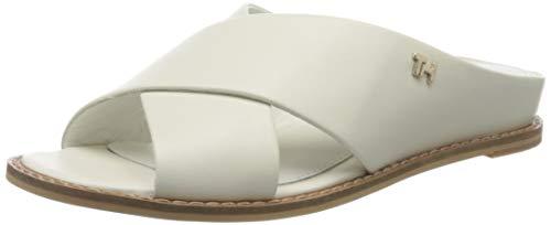 Tommy Hilfiger Damen Feminine Leather Low Wedge Zehentrenner, Weiß (Ivory Ybi), 40 EU