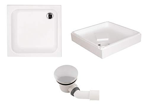 Calmwaters® - Modern Soft - Quadrat-Duschwanne in 90 x 90 x 6,5 cm im Komplettset mit Wannenträger & Ablaufgarnitur - 99000117