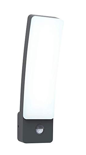 LUTEC LED Wandlampe Kira mit Bewegungsmelder lámpara de pared, gris antracita, gris, 31x11x8,3