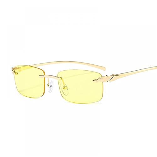 FRGH Gafas De Sol Cuadradas Sin Montura De Guepardo Vintage para Mujer, Lentes De Océano De Lujo, Gafas De Sol Rectangulares para Hombre