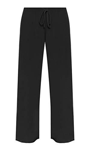 Damen-Hose mit weitem Bein, elastisch, große Größen, Schwarz 48