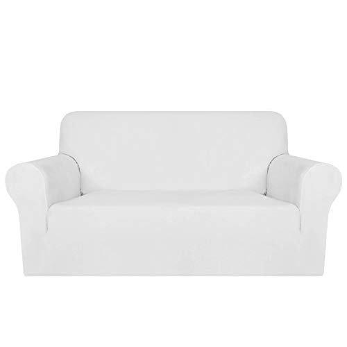 MAXIJIN Thick Velvet Sofa Covers 2 Seater Super Stretch Non Slip Loveseat Covers for Living Room Dogs Cat Pet Plush Love Seat Couch Slipcovers Elastic Furniture Protector (2 Seater, White)