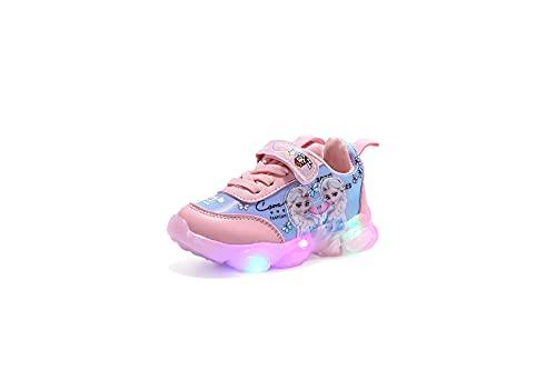 YJQXSL Frozen Else Light Up Shoes Cuero Zapatillas de Deporte Impermeables Vamp fáciles de Limpiar (niño/niña) (Color : Pink, Size : 27Inner length16.8cm)