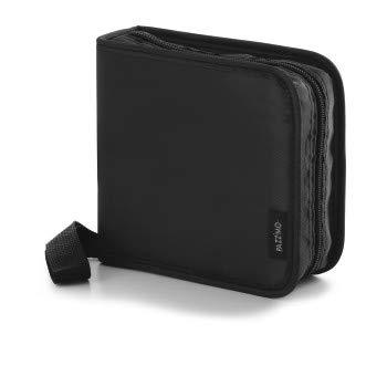 CD Tasche zur Archivierung von 40 Discs/CD/DVD/Blu-ray – CD Organizer ideal zum Transport von Filmen, Musik und Videospielen, Wallet aus Nylon – Schwarz
