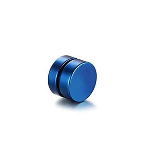 LUMOUS Pendientes magnéticos de nariz de acero inoxidable, pendientes falsos con mancuerna de disco pulido, pendientes de nariz falsa y no perforantes, para hombres y mujeres, 12 mm, color azul