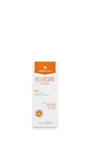 Heliocare Ultra Gel SPF 90 - Crema Solar Facial, Protección Muy Alta, Textura Gel, Ultraligera, Rápida Absorción, sin Residuo Blanco, Pieles Mixtas o Grasas, 50ml