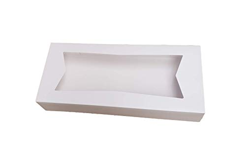 """Beautiful White Paperboard Auto-Popup Bakery Box 12.5"""" Length x 5.5"""" Width x 2.25"""" Height Clear Window for Product Visibility by MT Products (Pack of 15)"""