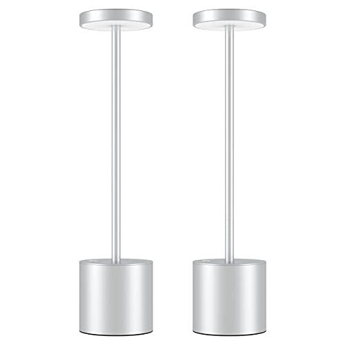 Lampada da Tavolo Senza Fili, LED Ricaricabile 6000 mAh Eye-Protect Lampada da Tavolo , lampada da comodino in metallo alluminio comodino, Adatto camera letto / studio /pranzo (2 argento)