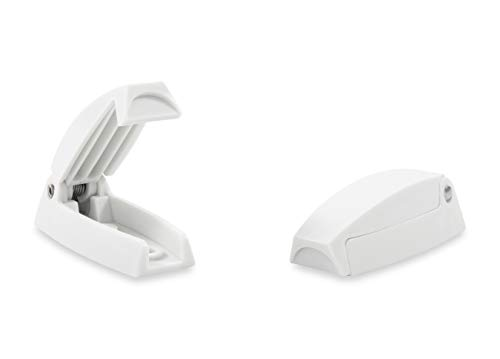 Camco RV Baggage Door Catch -Holds RV Baggage Compartments and Doors Open, Durable Material and Simple Installation- Polar White (2 Pack)(44173)