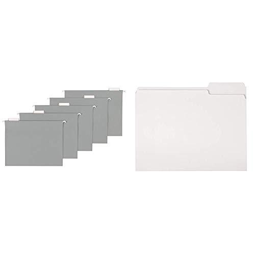 AmazonBasics Hanging Folders, Letter Size, Gray, 25-Pack & File Folders, Letter Size, 1/3 Cut Tab, White, 36-Pack