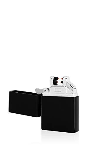TESLA Lighter TESLA Lighter T03 Lichtbogen-Feuerzeug, elektronisches USB Feuerzeug, Double-Arc Lighter, wiederaufladbar, Schwarz Schwarz