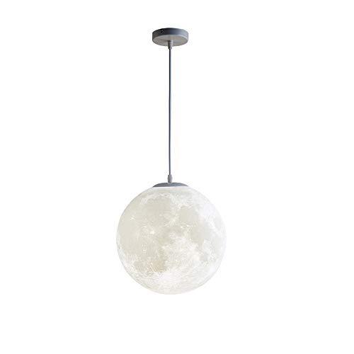 Moon Pendelleuchte 3D-Druck Moon Round Ball Hängelampe Moderne Kunst Kronleuchter Beleuchtung Hängeleuchte Schlafzimmer Esszimmer Bar Kinderzimmer Balkon Kreative Pendellampe (D 25CM)