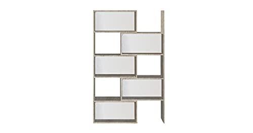 Homemania Libreria Antares Libri estensibili con ripiani, ripiani per il soggiorno, la camera da letto, l'ufficio chiaro, bianco in legno, 190 x 29 x 160 cm, pannello in melamina