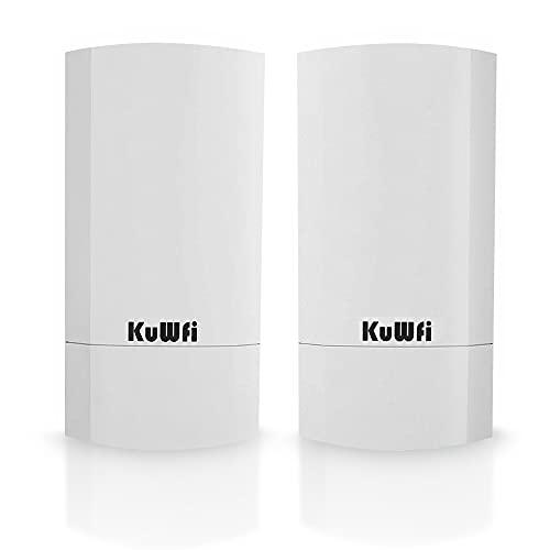 Accesso Point Esterno, KuWFi 300 Mbps Wireless Bridge/CPE Point-to-Point per Interni ed Esterni Supporta 1 KM di Distanza per Trasmissione Remota PTP, Applicazione PTMP